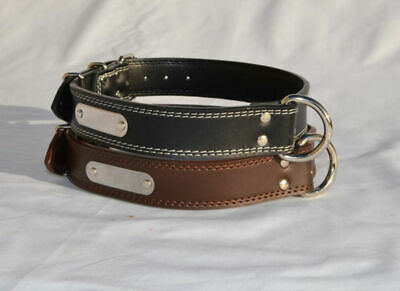 Genuine Leather Collar Name Engraving Plate XS - XXL Breeds