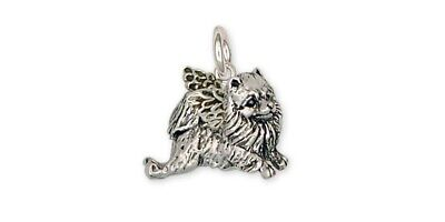 Pomeranian Angel Charm Handmade Sterling Silver Dog Jewelry PM9-AC
