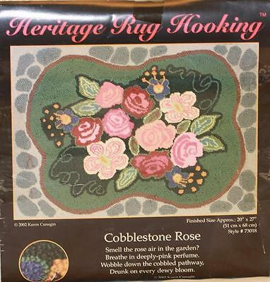 "Cobblestone Rose Heritage Rug Hooking Kit Finished Size 20"" X 27"" Flower Pattern"