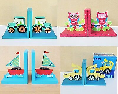Children BOOKENDS Wooden Home Book Ends Owl Children Nursery Boys Girls