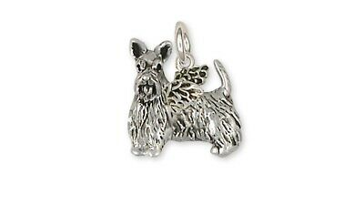 Scottie Scottish Terrier Angel Charm Handmade Sterling Silver Dog Jewelry SY21-A