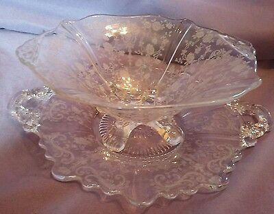 Cambridge Crystal Etched Etched Chantilly Candy Dish & Server Platter
