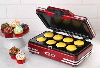 Nostalgia Electrics Mini Donut Maker Griddle for Even-Heat Disbursement in Red