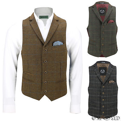 Mens Wool Mix Herringbone Tweed Check Vintage Collar Waistcoat Tailored Fit Vest