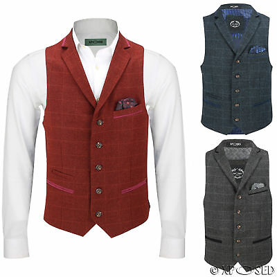 Mens Herringbone Tweed Check Vintage Collar Waistcoat Casual Tailored Fit Vest