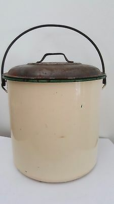 Vintage Green / Cream Enamel Billy Tin
