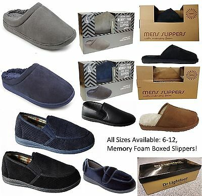 Mens Clog Memory Foam Mule Slip on Slippers BOXED Sizes 7,8,9,10,11,12 NAVY GREY