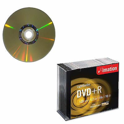 50 Imation DVD+R Lightscribe 16x 4.7GB 120 Mins Video Data Slim Jewel Case