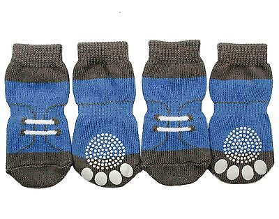 Small & Medium Breed Dog Socks Non-slip stretchable Blue Shoe Pattern S M L XL