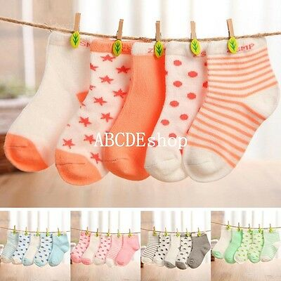 5 Pairs Lovely Baby Newborn Infant Toddler Soft Boys Girl Cotton Socks 0-5 Years