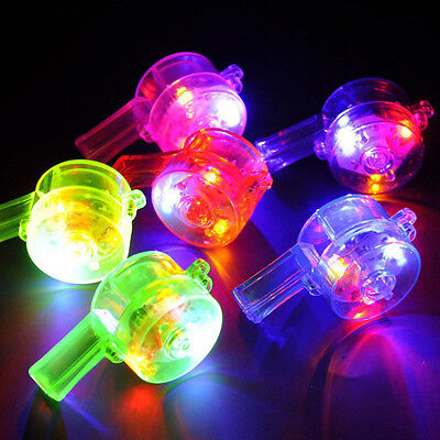 Flashing Whistle Colorful Lanyard LED Light Up Fun In the Dark Party Rave New