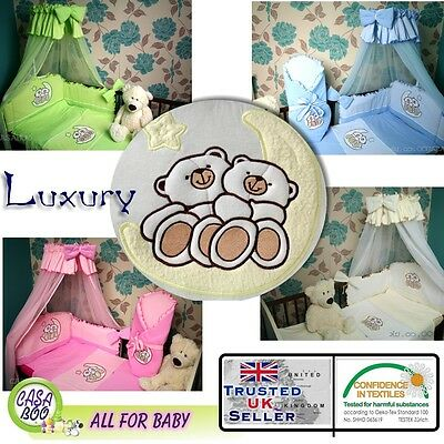Embroidered BABY BEDDING SET 2 PCS 3,4,5 PCS DUVET,QUILT,PILLOW,BUMER to cot bed