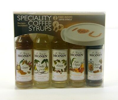 Monin Flavoured Coffee Syrups - 5x50ml Gift Pack