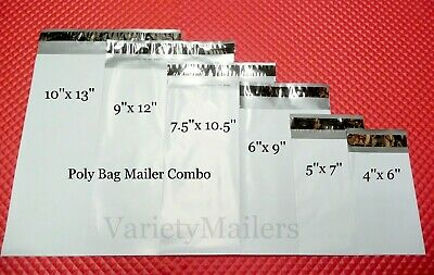 30 Poly Bag Plastic Shipping Envelope Mailer Combo 6 Sizes Self-Sealing Mailers