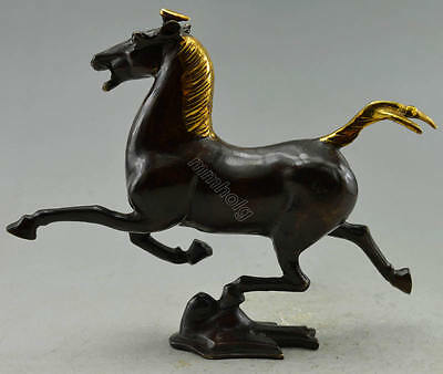Collectible Decorated Old Handwork Copper Carved Horse Tread Swallow Statue