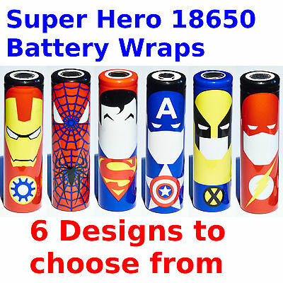 18650 Battery Wraps - Super Hero Style - 6 Designs Heat Shrink PVC Sleeves