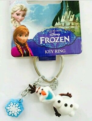 High Quality Key Ring- Disney Frozen Olaf Key Ring With Snowflake Charm