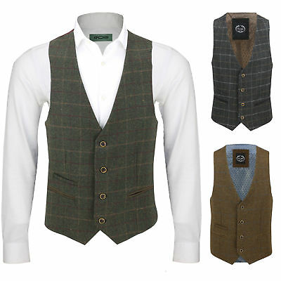 Mens Vintage Tweed Check Herringbone Waistcoat Casual Retro Grey Brown Green