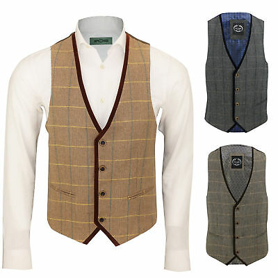 Mens Vintage Herringbone Tweed Check Velvet Trim Retro Waistcoat Oak Brown Grey
