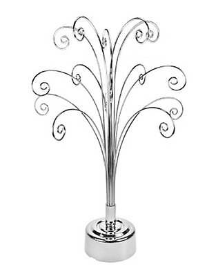 Silver Swirl Display Stand Battery operated Rotating Stand-45cm High - 15 Hooks