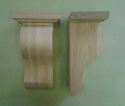 Cut Shape Corbels with capping (Pair) In ASH Wood *AS382