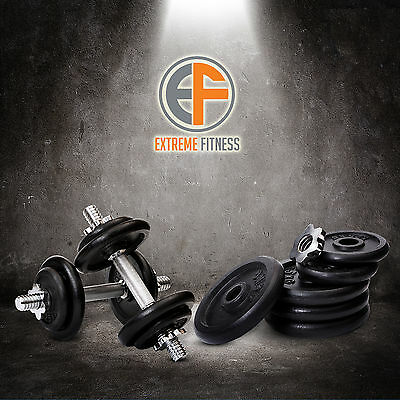 Dumbbell Set 20kg Dumbbells Fitness Weights Cast Iron Free Bar Plates Home Gym