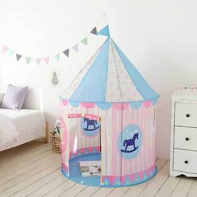Kids Play House Tent Castle Boys Girls Blue Pink Children Room Toy Gift