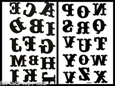 Quality unisex large black celtic Alphabet letters Temporary Tattoos UK Seller