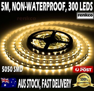 Warm White LED Strip Lights 5m 5050 SMD Bright 300 LEDs Non Waterproof 12V