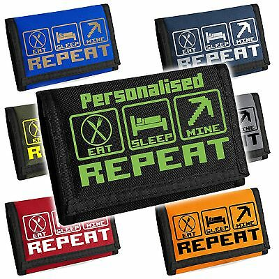Eat Sleep Mine Repeat Gaming Wallet - Can be personalised with Name/GameTAG