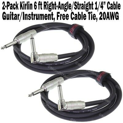 2-Pack Kirlin 6 ft Cable Right-Angle Electric Patch Cord Guitar +Free Cable Tie