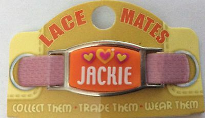 Personalised Named JACKIE LACE MATES For Shoelaces Jewellery Making Wristbands