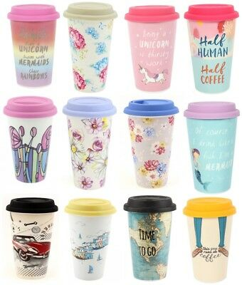 Ceramic Travel Mug Double Walled Coffee Tea with Silicone Lid Insulated