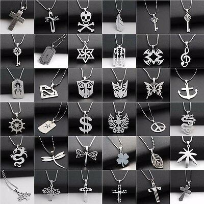 "Men Dragon Cross Pendant Necklace Stainless Steel Dangle Chain Link 20""Jewelry"