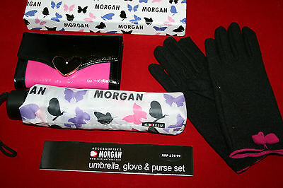 MORGAN Umbrella Gloves & Purse Boxed Gift Set NEW Butterfly Design RRP £29.99