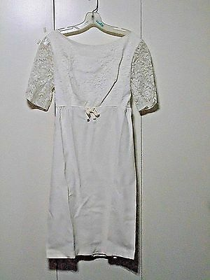Vtg Mod 60s 70s White Dress with lace sleeves and matching long vest Costume SM