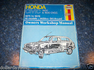 Haynes Repair Manual Honda Civic 1500 cvcc 1975-1979 USED 90.8 cu Haynes Manual