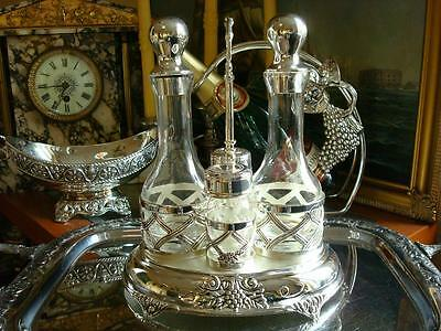 Vintage Silverplate Salt Pepper Shakers Vinegar Oil Carafes Condiment Caddy