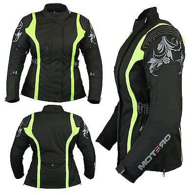 Ladies Women Motorcycle Motorbike Armoured Waterproof Cordura Jacket Hi-ViZ