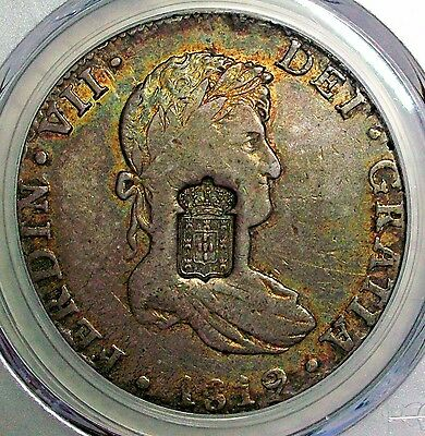 Nd(1834) Portugal Silver 870 Reis Countermark On 1819 Mexico 8 RealesPcgs Vf-35