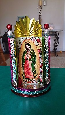 """Mexican Tin Painted Virgen de Guadalupe Chapel Virgin Mary 4"""" x 8"""" of Yellow"""