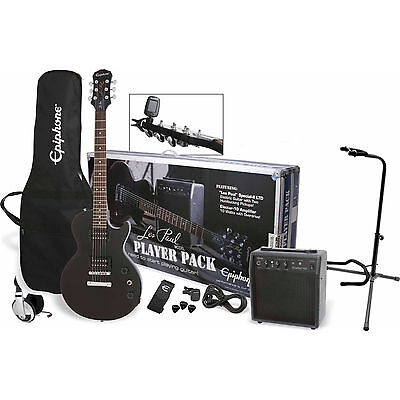 Epiphone Les Paul Electric Guitar Headphones Case Stand Music Player Combo Pack