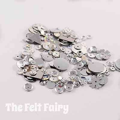 Mixed Flat, Cup and Shaped Sequins 100+ Loose Sparkling Silver Mix