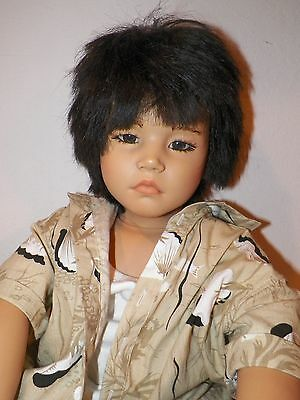 """Annette Himstedt 31"""" Vinyl Doll Asian Boy With Coa World Child Collection No Box"""