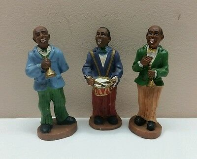 3 Vintage African American Hand-Painted Musicians Jazz Blues Figurines