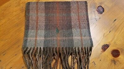 Polo Ralph Lauren Men's Two Sided Brown Plaid  Scarf Nwt