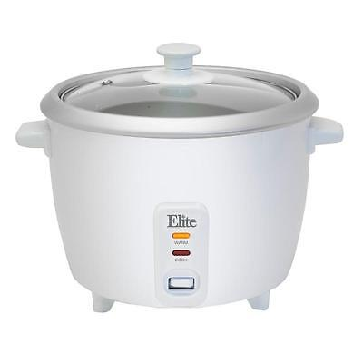 Elite 6 Cup Rice Cooker Removable Non Stick Pot Auto Switches Measuring Cup