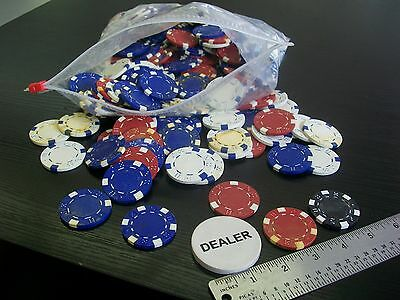 Lot /Striped Dice Clay Poker Chips for Card Game; Loose-Red, White, Blue, Dealer