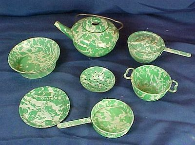 Vintage 7 Piece Green Graniteware Style Child's Miniature Dish Set Coffee Pot