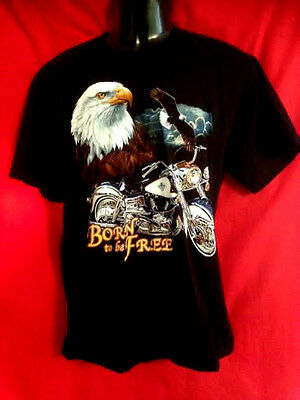 Harley-Davidson print motorcycle/Eagle Born to be Free100% black cotton s/s AAAA